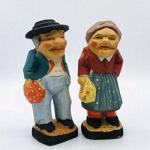 Vintage Ceramic Clay Woman & Man Peasant Figures